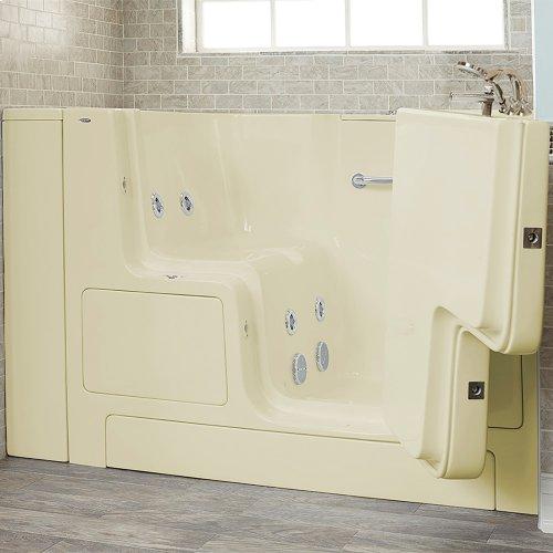 Gelcoat Premium Series 32x52 Whirlpool Walk-in Tub with Outward Opening Door, Right Drain  American Standard - Linen