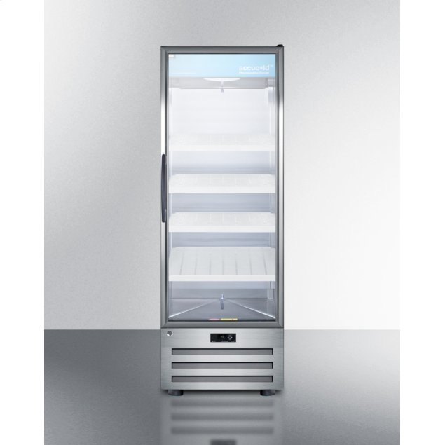 Summit 14 CU.FT. Pharmaceutical All-refrigerator With A Glass Door, Lock, Digital Thermostat, and A Stainless Steel Interior and Exterior Cabinet
