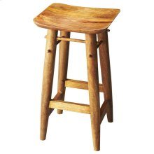 The solid mango wood Lotus bar stool makes a sturdy place to sit down and have a drink. The smooth surfaces are finished with a natural Artifacts finish giving this piece an at home, country feel.