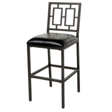 Lansing Bar Stool with Coffee Finished Metal Frame, Patterned Seatback and Black Faux Leather Upholstery, 30-Inch Seat Height