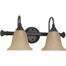 "2-Light 18"" Wall Mounted Vanity Light Fixture in Old Bronze Finish with Amber Water Glass"