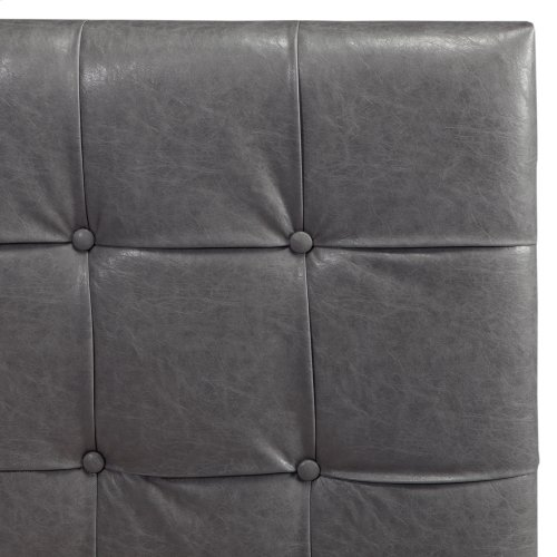 La Brea Button-Tuft Faux Leather Upholstered Headboard with Adjustable Height, Gray Finish, King / California King