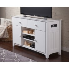 Nantucket 2 Drawer 50 inch Entertainment Console 30x50 with Adjustable Shelves and Charging Station in White