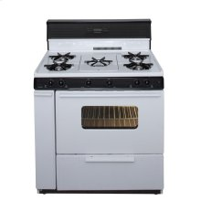 36 in. Freestanding Gas Range with 5th Burner and Griddle Package in White