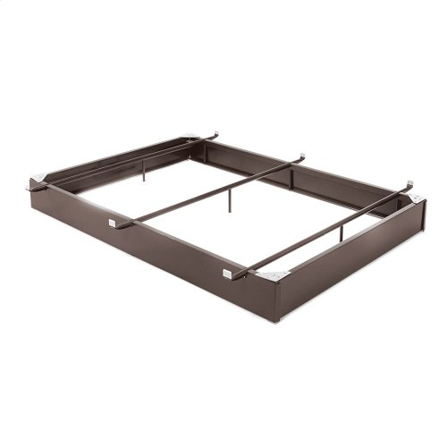 """Pedestal 1046XL Bed Base with 10"""" Brown Steel Frame and Center Cross Tube Support, Full XL"""