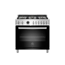 36 inch Dual Fuel Range, 6 Brass Burner, Electric Self-Clean Oven Nero