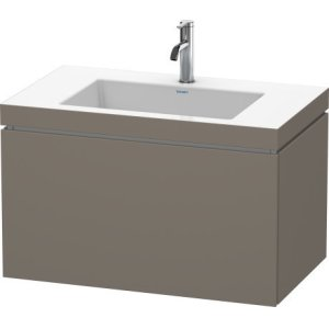 Furniture Washbasin C-bonded With Vanity Wall-mounted, Flannel Grey Satin Matt Lacquer