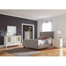 Palma Light Grey Upholstered Queen Bed