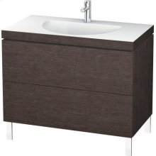 Furniture Washbasin C-bonded With Vanity Floorstanding, Brushed Dark Oak (real Wood Veneer)