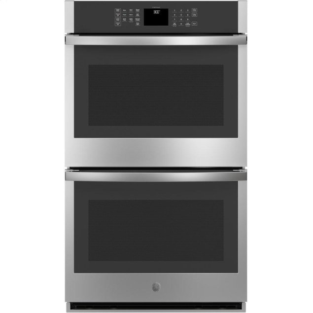 "GE 30"" Smart Built-In Self-Clean Double Wall Oven with Never-Scrub Racks"
