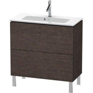 Vanity Unit Floorstanding Compact, Brushed Dark Oak (real Wood Veneer)