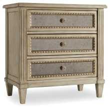 Bedroom Sanctuary Three Drawer Nightstand-Pearl Essence