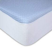 Sleep Chill + Crystal Gel Mattress Protector with Cooling Fibers and Blue 3-D Fabric, Queen