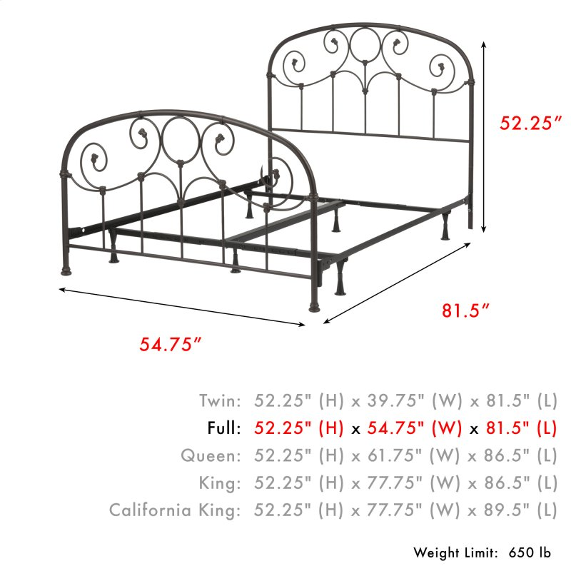 Grafton Complete Metal Bed And Steel Support Frame With Prominent Scrollwork Decorative Castings Rusty