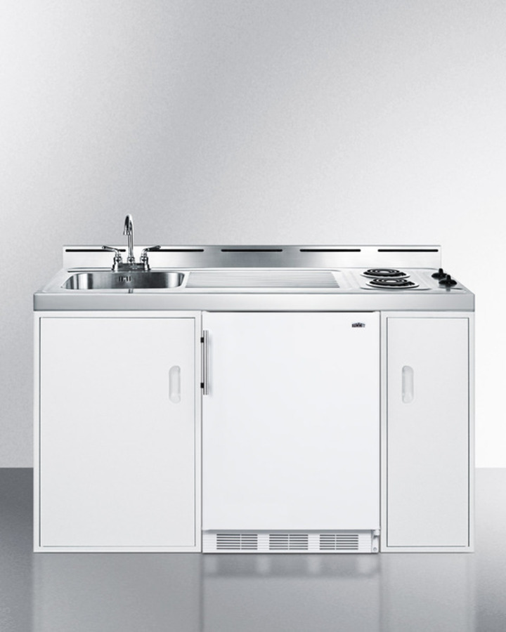 "Kitchenette Sink Cabinet: C60ELSummit 60"" Wide All-in-one Kitchenette With Two Coil"