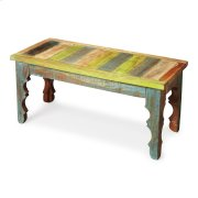 Crafted from recycled wood solids, this Bench is an irresistible combinatinon of rustic charm, dramatically carved legs and colorful hand painting, ensuring this piece stands out as a one-of-a-kind original. Product Image