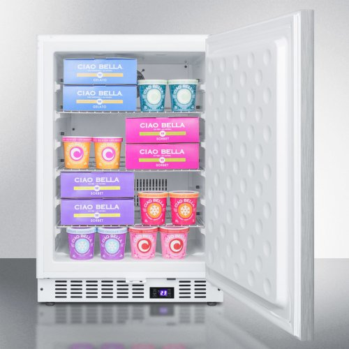 Frost-free Built-in Undercounter All-freezer for Residential or Commercial Use, With Stainless Steel Wrapped Exterior and Horizontal Handle