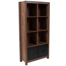 Crosscut Oak Wood Grain Finish Storage Shelf with Metal Cabinet Doors