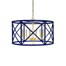 Six Light Bamboo Chandelier In Navy Powder Coat With Gold Cluster - Ul Approved for (6) 40w Candelabra Bulbs