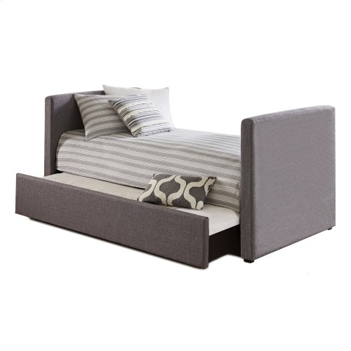 Balboa Complete Upholstered Daybed with Wood Slat Support System and Roll Out Trundle Drawer, Pebble Gray Finish, Twin