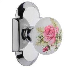 Nostalgic - Single Dummy Knob - Cottage Plate with White Rose Porcelain Knob in Bright Chrome