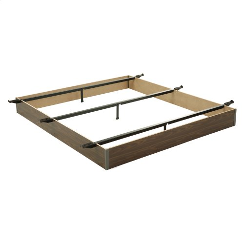 "Pedestal F20 Bed Base with 10"" Walnut Laminate Wood Frame and Center Cross Slat Support, Full XL"