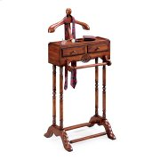 This elegant valet is a must for anyone with a flair for fashion. Hand crafted from solid hardwood, it features a scuptured wood hanger, ideal for a jacket, shirt or blouse; pants hanger, two drawers with antique brass finsihed hardware; and a top storage Product Image