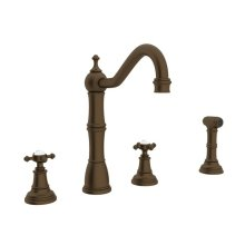 English Bronze Perrin & Rowe Edwardian 4-Hole Kitchen Faucet With Sidespray with Cross Handle