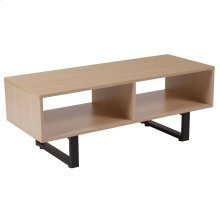 Beech Wood Grain Finish TV Stand and Media Console with Black Metal Legs