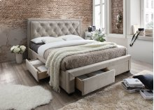 Erin Taupe Tufted Upholstered Queen Bed with Storage Drawers