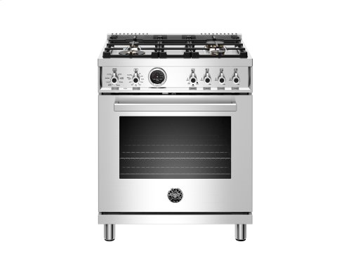 30 inch Dual Fuel Range, 4 Brass Burner, Electric Self-Clean Oven Stainless