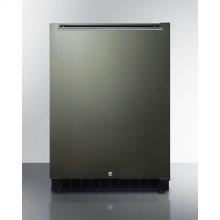 Built-in Undercounter ADA Compliant All-refrigerator With Black Stainless Steel Door, Horizontal Handle, Black Cabinet, Door Storage, and Digital Controls