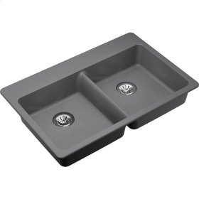 "Elkay Quartz Classic 33"" x 22"" x 5-1/2"", Double Bowl Drop-in ADA Sink with Perfect Drain, Greystone"