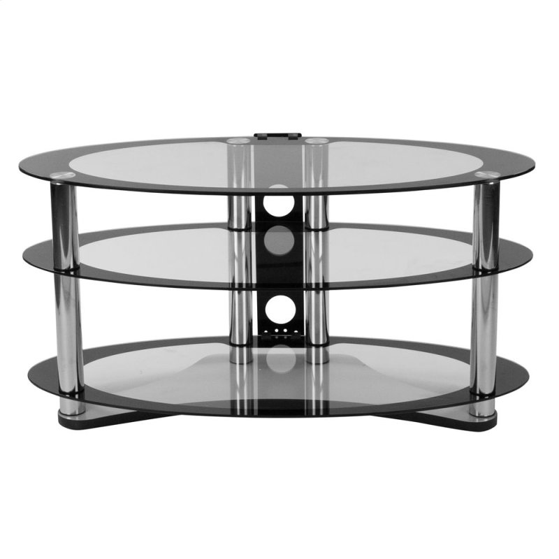 Two Tone Glass Tv Stand With Shelves And Chrome Tubing
