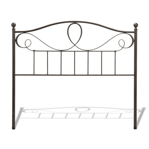Sylvania Metal Headboard and Footboard Bed Panels with Elegant Pattern of Curves and Twists, French Roast Finish, King