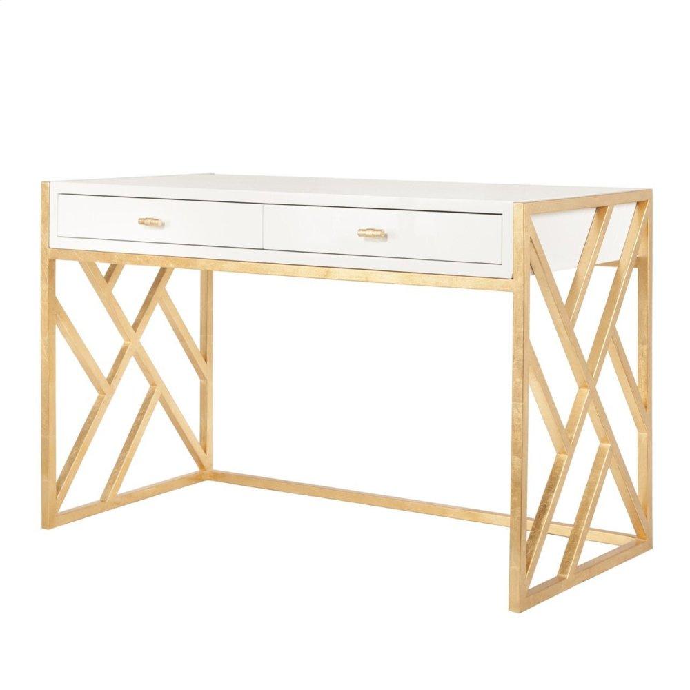 White Lacquer Desk With Gold Leaf Lattice Base
