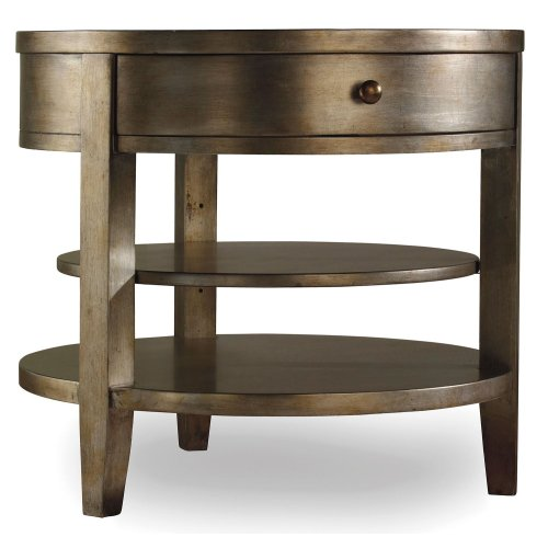 Living Room Sanctuary One-Drawer Round Lamp Table - Visage