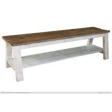 Breakfast & Bedroom Bench w/ shelf, Solid Wood - Brown & White Finish