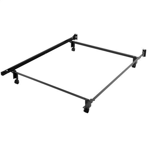 Inst-A-Matic Premium PC753R Bed Frame with Headboard Brackets and (4) 2-Inch Locking Rug Roller Legs, Powder Coat Finish, Full