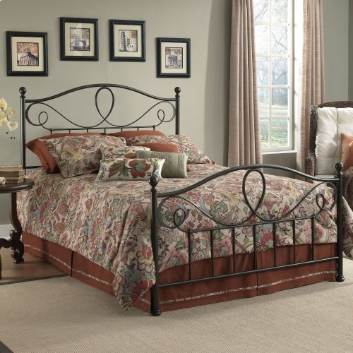 Sylvania Metal Headboard and Footboard Bed Panels with Elegant Pattern of Curves and Twists, French Roast Finish, California King