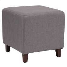 Upholstered Ottoman Pouf in Light Gray Fabric