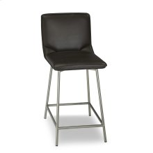Pierre Metal Counter Stool with Cappuccino Upholstered Seat and Stainless Steel Frame, 26-Inch