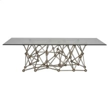 "Silver Leaf Iron Coffee Table With Rectangular 36"" X 60"" Glass Top"