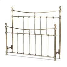 Leighton Metal Headboard and Footboard Bed Panels with Straight-Lined Spindles and Scalloped Castings, Glazed Brass Finish, Queen