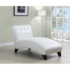 WHITE PU LOUNGE CHAISE