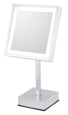 Single-sided LED Square Freestanding Mirror - Rechargeable