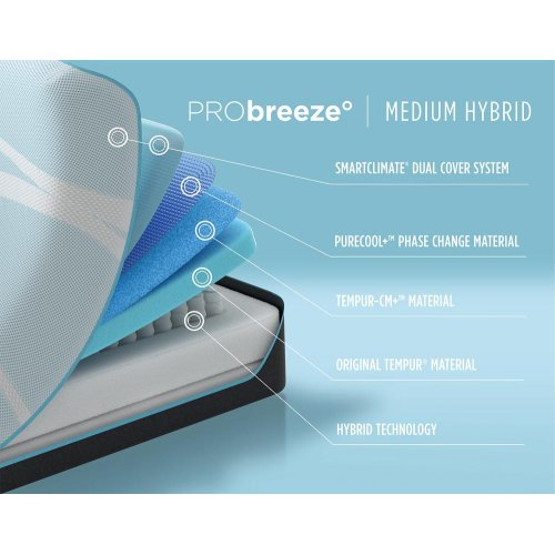 TEMPUR-breeze - PRObreeze - Medium Hybrid - King