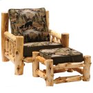 Cedar Log Frame Ottoman - Lounge Chair - Standard Fabric - Includes Fabric and Cushion Product Image