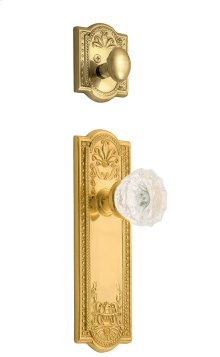 Nostalgic - Handleset Interior Half - Meadows Plate with Crystal Knob in Polished Brass