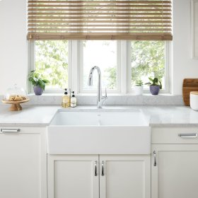 Avery 36x20 Double Bowl Apron Kitchen Sink  American Standard - Alabaster White